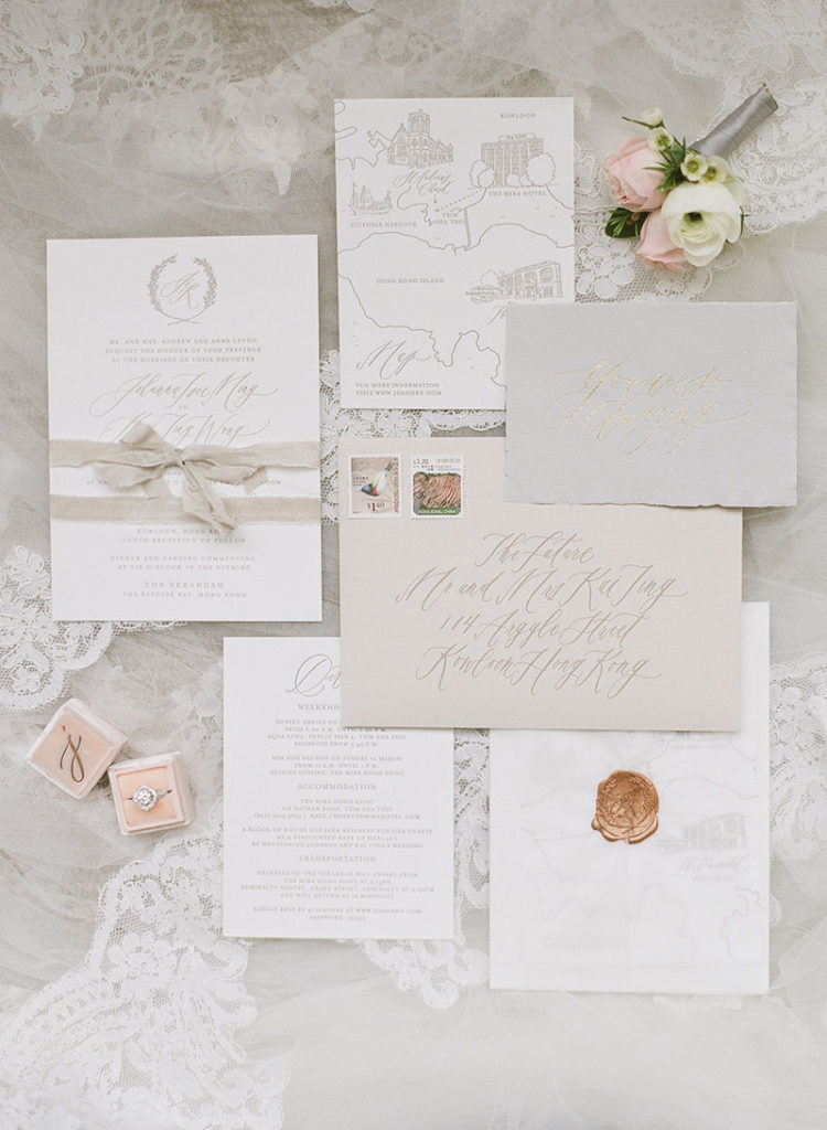 Organic modern calligraphy and elegant wedding details that are cohesive and tells your wedding story